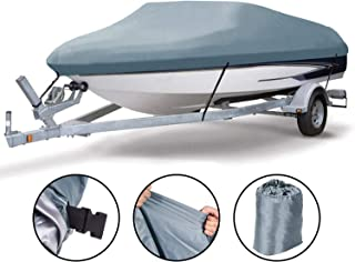 EPCOVER Trailerable Runabout Boat Cover&Boat Covers Heavy Duty 600D Polyester Oxford Waterproof, for V-Hull,  Fishing Boat,  Runabout,  Bass Boat Multiple (17''-19''L Gray)