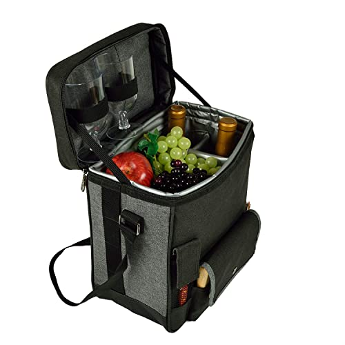Picnic at Ascot Wine and Cheese Picnic Basket/Cooler with hardwood cutting Board, Cheese Knife and Corkscrew - Charcoal