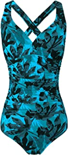 FLYRONG Swimming Costume for Women V Neck One Piece Tummy Control Swimsuits for Women Swimwear