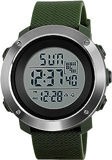 Men's Fashion Sport Digital Watches Dual Time Countdown Stopwatch Military Waterproof Watch-Green