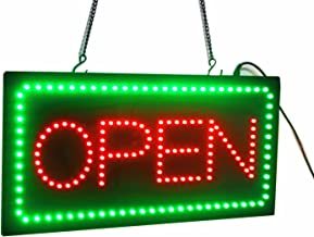 19-inch Scrolling Animation Led Neon Open Sign Board Red Green led Light Flashing Fixed Pattern for Cafe Beauty Salon Nail Sushi Bakery Barber Shop Massage Restaurant Coffee bar Office Shop Business