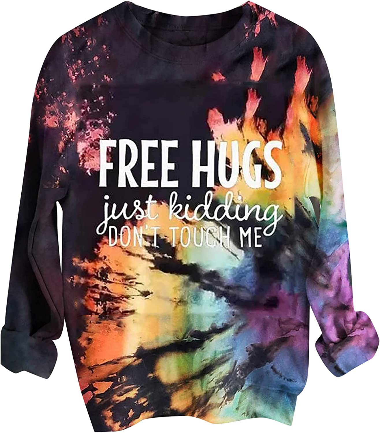 Halloween Sweatshirt for Women's Tie-dye Letter Print Pullover Tops Casual Crewneck Long Sleeve Loose Fashion Blouse