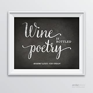 Andaz Press Wine Wall Art Decor Sign, Vintage Chalkboard Style Poster, Wine is Bottled Poetry, Robert Louis Stevenson Quote, 1-Pack