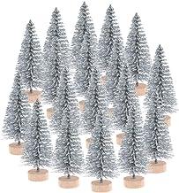 Ioffersuper 12Pcs Mini Sisal Trees with Wood Base Artificial Christmas Pine Trees Bottle Brush Trees for Winter Snow Minia...