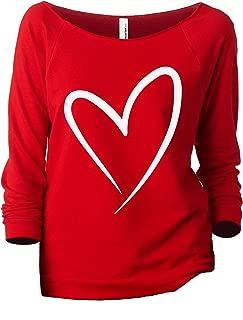 Simply Heart Women's Slouchy 3/4 Sleeves Raglan Sweatshirt Red