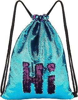 Mermaid Sequin Bag Unicorn Drawstring Backpack Dance Bag Gym Sack for Kids