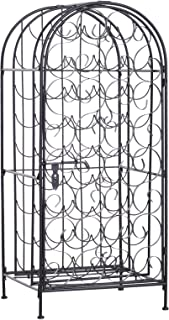 HOMCOM 35 Bottle Wrought Iron Wine Rack Jail with Lock - Black