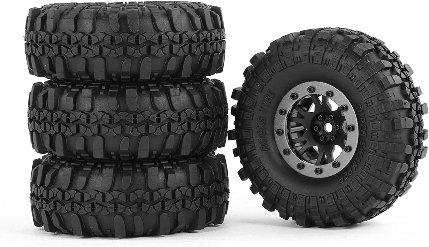 4pcs AX 40205 110mm 1.9in Rubber Tire with Alloy Beadlock Wheel Rim for AXIAL SCX10 90046 RC4WD D90 1 10 RC Rock Crawler Car
