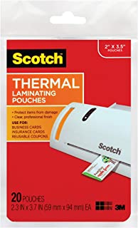 Scotch Thermal Laminating Pouches, 2.3 x 3.7-Inches, 20-Pack (TP5851-20),Clear,20-Pouches