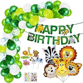 Decoracion Cumpleaños Niños, Selva Fiesta de Cumpleaños Decoracion, Globos de Cumpleaños Infantil, Guirnalda Feliz Cumpleaños, Globos Animal y Globos Verdes para Niños Cumpleaños Fiesta