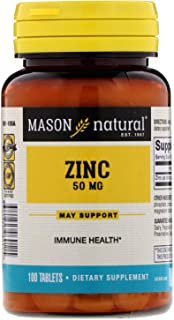 Mason Natural Zinc 50 mg Dietary Supplement - 100 Tablets, Pack of 2