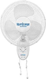Hurricane Wall Mount Fan-12 Inch, Supreme Series, 90 Degree Oscillation 3 Speed Settings,..