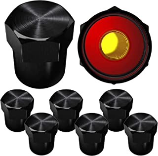 SAMIKIVA Brass Rubber Seal Tire Valve Stem Caps, Dust Proof Covers Universal fit for Cars, SUVs, Bike and Bicycle, Trucks, Motorcycles Flat Top (8 Pack) (Black)