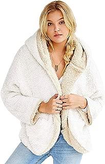 Women's Fleece Hooded Sherpa Jacket- Reversible Open Front Long Sleeve Faux Shearling Winter Coats with Pockets
