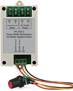 DROK DC 9-48V 16KHZ PWM Electric Motor Speed Controller, Small 20A DC Motor Controller with Sensitive Knob, Support 0-5V Frequency Converter Input Control for Car Automotive DC Electric Fan