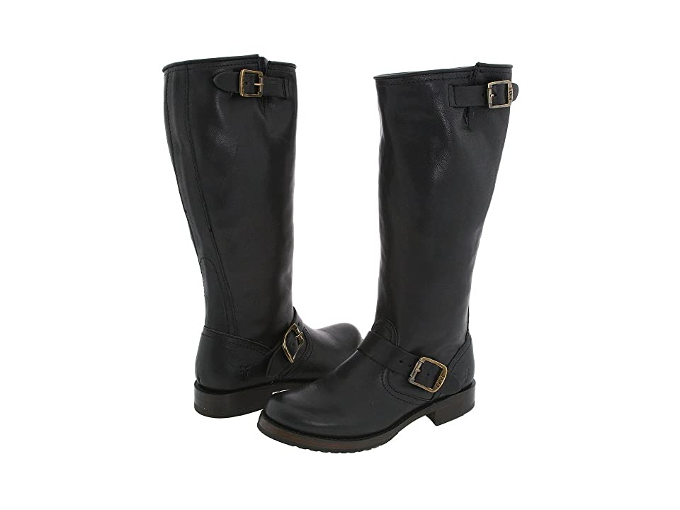 Frye Veronica Slouch - Wide Calf (Black Extended Tumbled Full Grain) Cowboy Boots