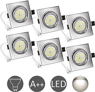 Wowatt 6W Spot LED Encastrable Carré Blanc Froid, Spot Encastrable GU10 Plafond 6W 6000K Équivaut Ampoule Halogène 50W Pla...