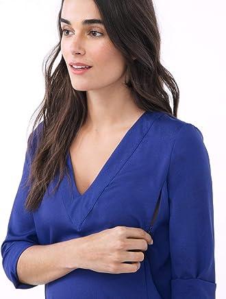 e47a5e7edbeee LoyalHana Alice- Blue V-Neck Long Sleeve Nursing and Maternity Blouse