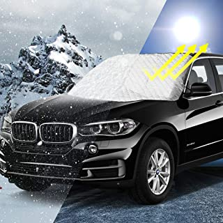Ice Fits Most Cars and SUV UV Hail YULU Car Universal Windshield Snow Cover Winter Frost Guard Windshield Ice Cover with 4 Layer Snow Cover Protects from Snow Frost Sleet