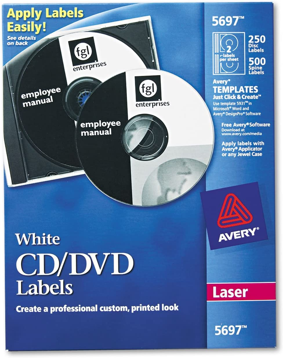 Avery All stores are sold Max 69% OFF 5697 CD DVD Labels 250 PK White Laser