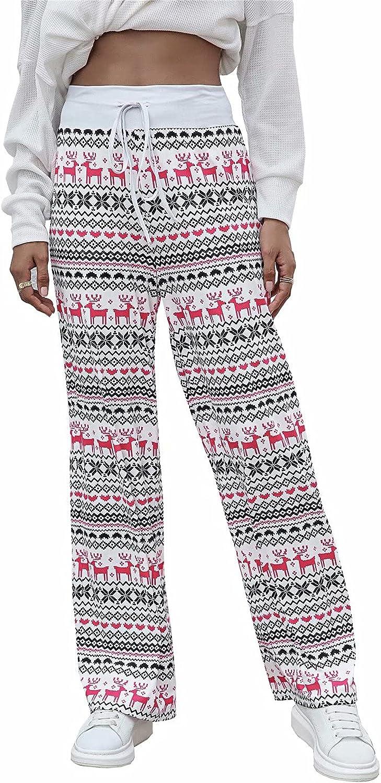 Welity Women's Women's Comfy Pajama Pants Wide Leg Drawstring Printed Lounge Pants