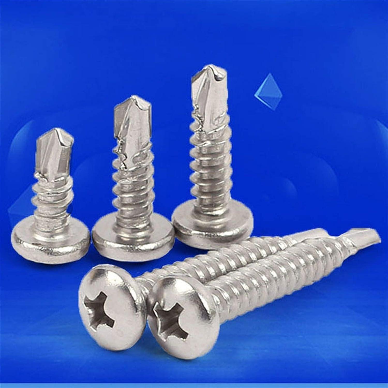 Apprehension 410 Stainless Steel Self-Drilling Screw Cross Wood Screws Pan Head Self-Tapping Screw M3.5 M4.2 M4.8 M5.5 M6.3 Screw Size : M5.5x19mm 20pcs