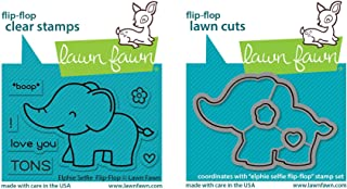 Lawn Fawn Elphie Selfie Flip-Flop Clear Stamp and Dies - Bundle of Two Items