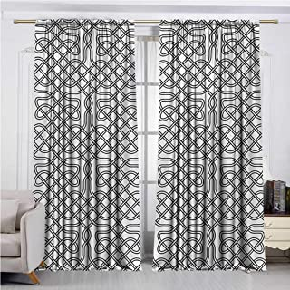 DESPKON-HOME DIY Grommet Curtain for Living Room,Celtic Horizontal Knotted Celtic Motif Textured with Heraldic South Scandinavian Graphic Darkening Darkening Curtains (63W x 72L inch,Black White)