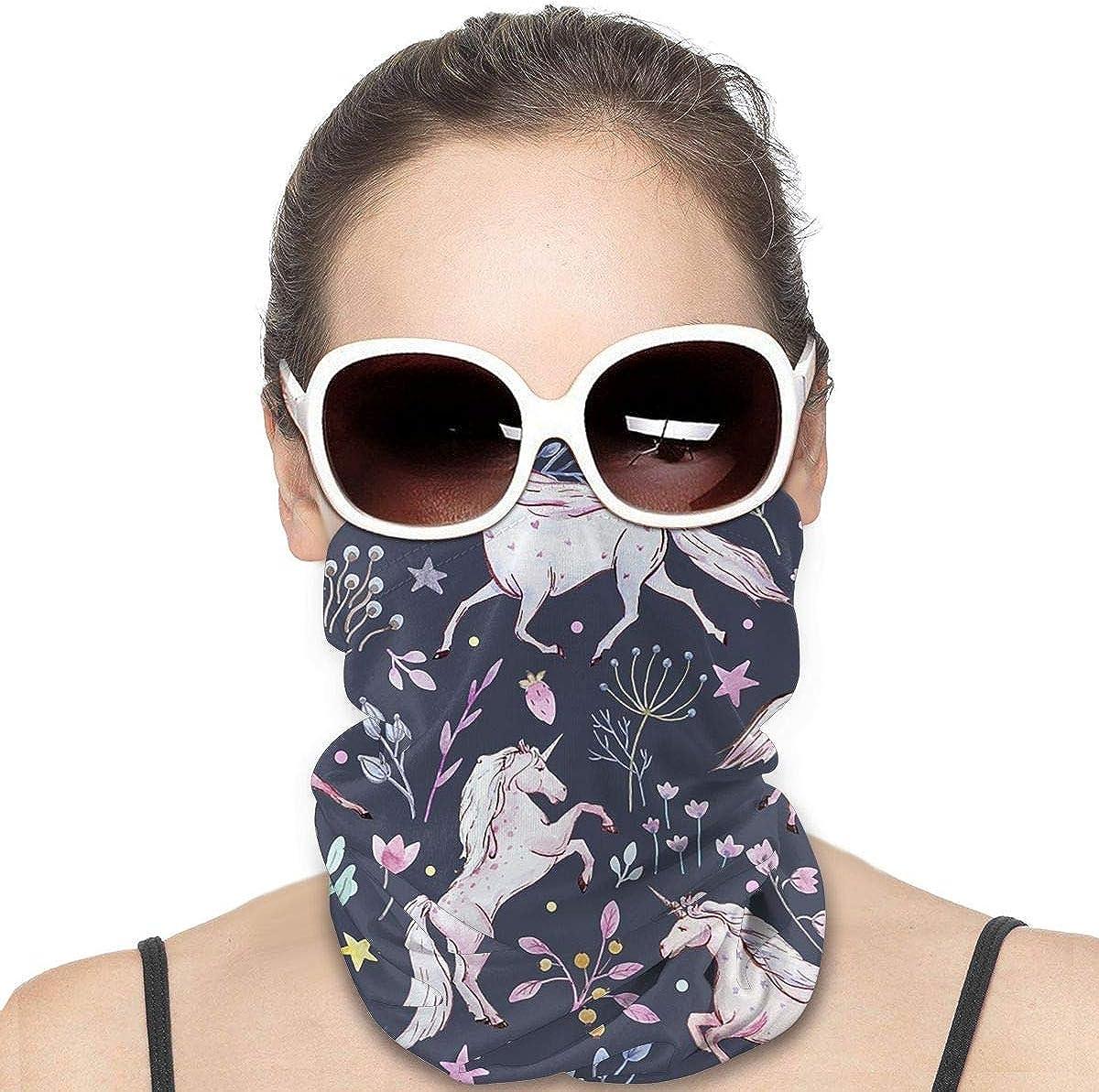 KiuLoam Women Bandanas Face Mask, Dark Unicorn Neck Gaiter Mask Headband for Men Face Scarf Dust, Outdoors, Sports