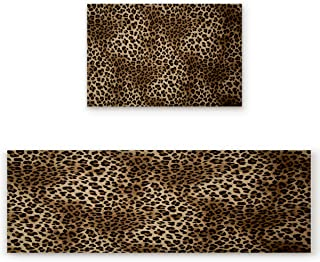 2 Piece Non-Slip Kitchen Rug Anti-Slip Backing Mat for Doorway Bathroom Runner Rug Set,Leopard Print (19.7x31.5in+19.7x63 inches)