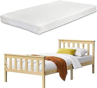 Cadre de Lit Design pour Adultes en Bois de Pin à Sommier à Lattes Lit Simple avec Matelas à Mousse à Froid Capacité de Ch...