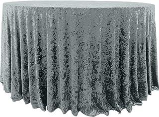 Koyal Wholesale Velvet Tablecloth 120-Inch Round Table Cloth, Farmhouse Table Cover, Velvet Tablecloth, Velvet Linen (Gra...
