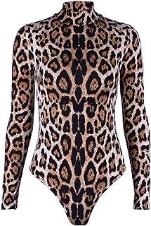Fankle Women's Long Sleeve Bodysuit Sexy Leopard Print Mock Neck Stretchy Body Shaper Tops Blouse Tunics