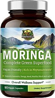 Organic Moringa Oleifera Leaf Powder Capsules 1200 mg, Complete Green Superfood, Non-GMO, No Gluten, Rich in Antioxidants...