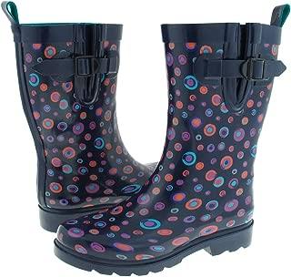 Capeli New York Shiny Painted Marbles Printed Ladies Short Rain Boot