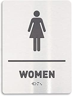 Womens Restroom Identification Sign - ADA Compliant Bathroom Sign, Raised Icons, Raised Braille, Brushed Aluminum Finish, TCO Inspection Certified - by GDS Architectural Signage