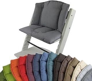 BambiniWelt Cojín de asiento para trona Stokke Tripp Trapp, en 14colores, jaspeado, asiento de 2piezas, funda, cojín de repuesto gris oscuro