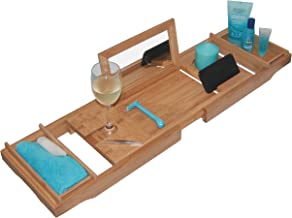- THIS ONE HAS A MIRROR - Our Luxury Bamboo Bathtub Tray / Bathtub Caddy with MIRROR also comes with Extending Non Slip Sides, Wine Glass Holder, 2 Removable Storage Shelves & Much More