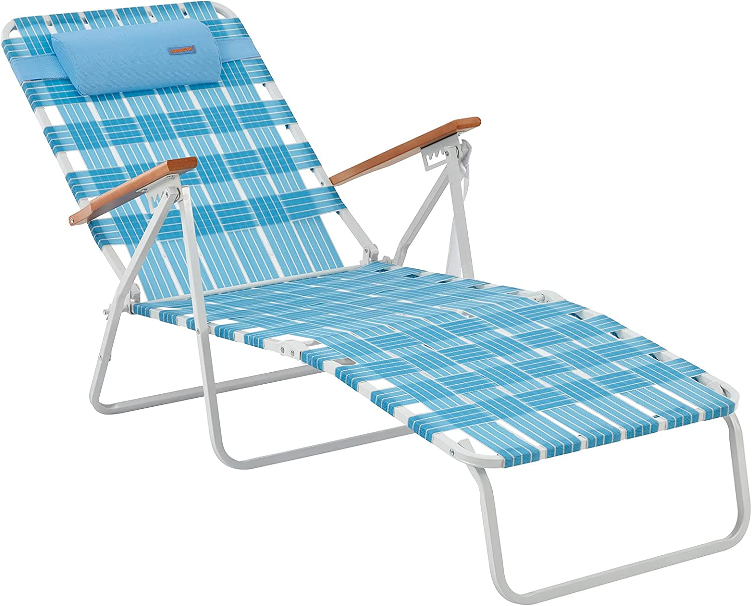 #WEJOY 5 Adjustable Folding Webbing Beach Chaise Lounge Chair,Portable Recliner Chairs for Adults with Wooden Arm,Backpack Strap,Pillow for Outdoor Sunbathing Pool Side Sun Deck Lawn Patio Camping