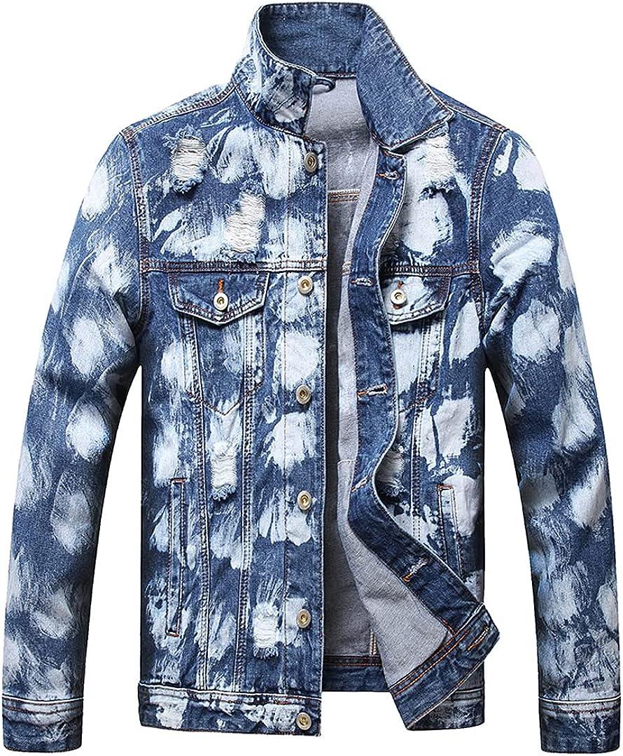 Jean Jacket for Men Big and Tall Multi Pockets Denim Jackets Cotton Long Sleeves Broad Shoulders Hoodie Underneath Slim Fit
