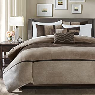 Madison Park Palisades Duvet Cover Full/Queen Size - Brown, Taupe, Pieced Stripe Duvet Cover Set – 6 Piece – Micro Suede Light Weight Bed Comforter Covers