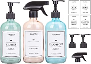 SUNNOW Vastto 16 Ounce Chromatic Glass Spray Bottle with 4 Pumps,2 Sprayers and 8 Labels,Refillable Container Pumb Bottle ...