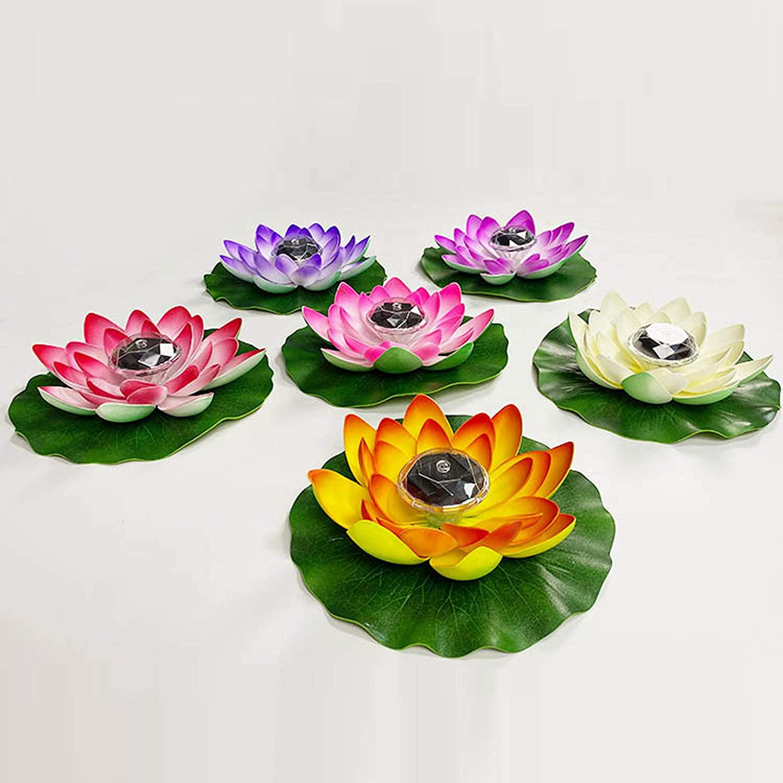 /æ/— LED impermeable flotante Lotus luz solar Lotus l/ámpara funciona con pilas que cambia de color lirio flor luz flor noche l/ámpara piscina jard/ín pecera boda decoraci/ón