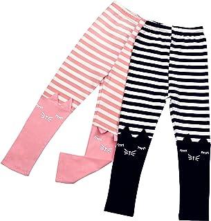 2 Pack Girls Pants Baby Toddler Girl Legging Cute Cat Striped Spliced Kids Pant Cotton Blended 3-7T