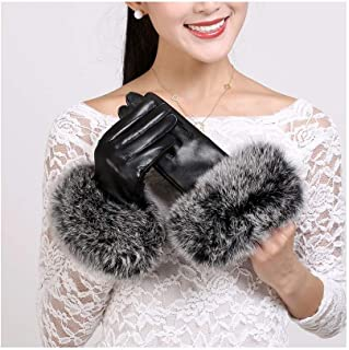 SHENTIANWEI Women's Leather Gloves Oversized Haired Winter Warm Leather Gloves (Color : Black, Size : L)