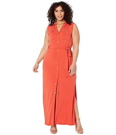 MICHAEL Michael Kors Plus Size Sleeveless Maxi Shirtdress (Dark Persimmon) Women