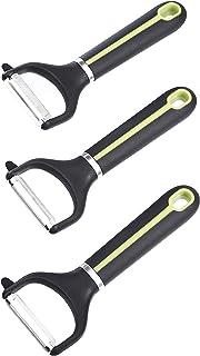 AmazonBasics 3-Piece Y-Peeler Set, Soft Grip Handle, Grey and Green