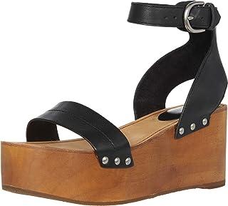 Frye Women's Alva Flatform Sandal Wedge, Black, 8.5 M US