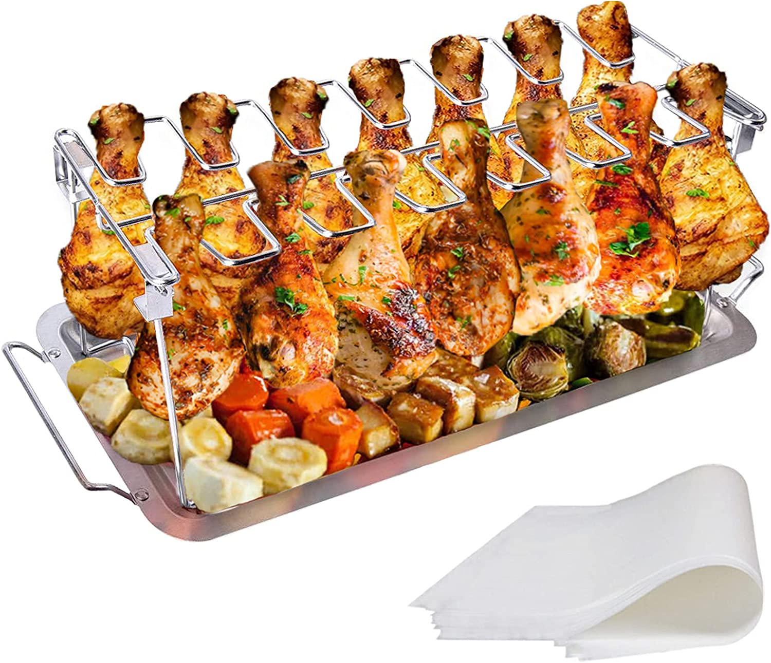 yamisan Chicken Leg Wing Grill Rack - 14 Slots Stainless Steel Roaster Stand with Drip Pan, BBQ Chicken Drumsticks Rack for Smoker Grill or Oven : Garden & Outdoor