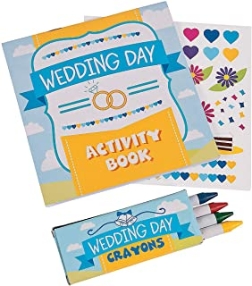 Fun Express Wedding Day Kids Activity Books with Stickers and Crayons, One Dozen